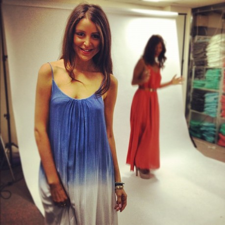 Aley smiles pretty in one of our stunning new maxidresses, while Alex hams it up for the camera.
