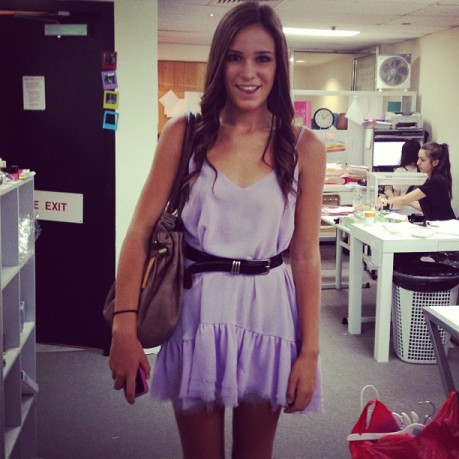 Kaitlin arrives at Show Pony HQ all smiles in our Ever After dress :) !