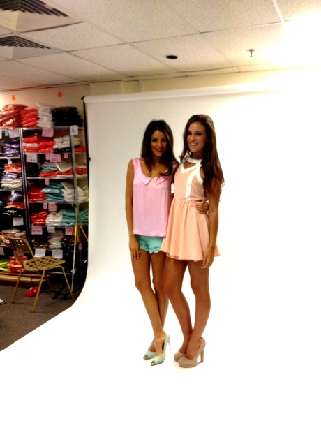 So cute! Aley in our mockingbird shorts and Dahlia top and Kaitlin in our milkshake dress
