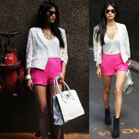 Make a Scene shorts in pink, Island top in white, Dedication blazer in white, Elise necklace, Manhattan bag, Monster sunglasses.