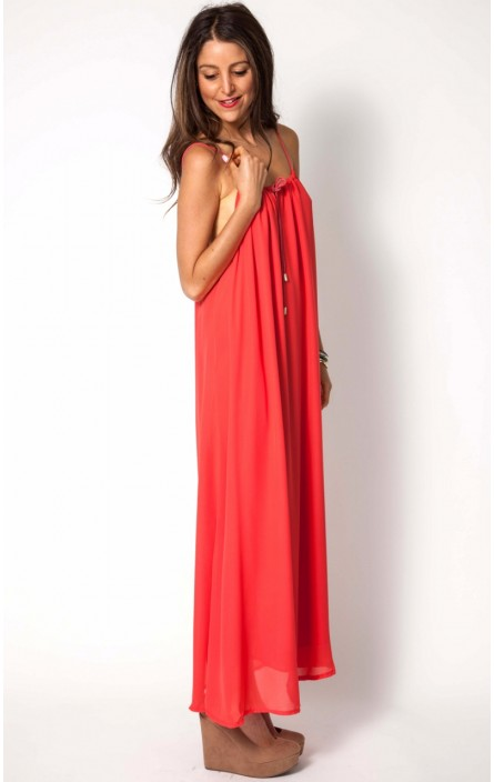 Corsica maxi dress in coral, also in black, aqua and floral print