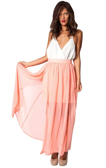 Lucia maxi dress in peach, also in lilac, black, and mint